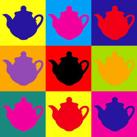 chinese tea pot: Tea maker Kitchen Icon. Pop-art style colorful icons set.