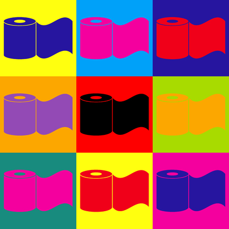 fecal: Toilet Paper Icon. Pop-art style colorful icons set. Illustration