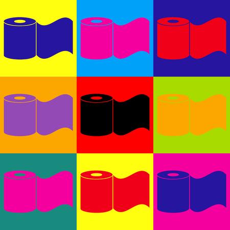 Toilettenpapier-Icon. Pop-Art-Stil bunte Icons gesetzt.