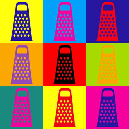 cheese grater: Cheese grater icon. Pop-art style colorful icons set. Illustration