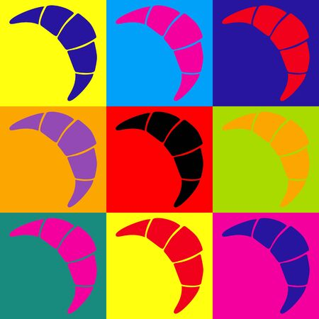 www tasty: Croissant simple icon. Pop-art style colorful icons set.