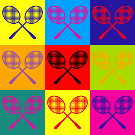 handled: Tennis racquets icon. Pop-art style colorful icons set. Illustration