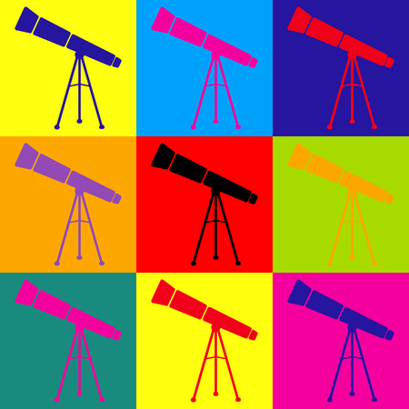 ocular: Telescope simple icon. Pop-art style colorful icons set.