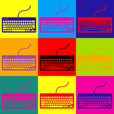 put the key: Keyboard simple icon. Pop-art style colorful icons set. Illustration