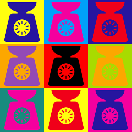 ounce: Kitchen scales icon. Pop-art style colorful icons set.
