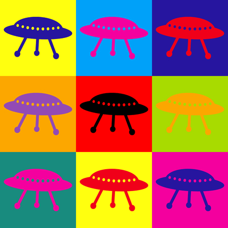 area 51: UFO simple icon. Pop-art style colorful icons set.
