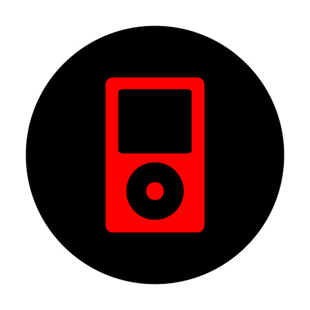 mp: Portable music device. Red vector icon on black flat circle. Illustration