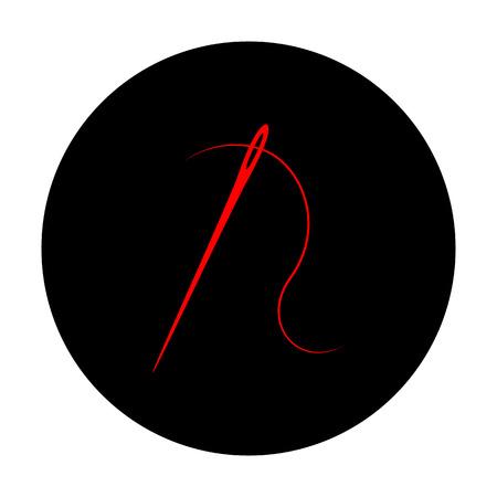 Nadel mit Gewinde Nähnadel, Nadel zum Nähen. Red Vektor-Symbol auf schwarzem flachen Kreis.