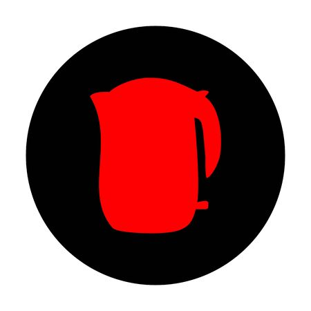 electric tea kettle: Electric kettle icon. Red vector icon on black flat circle.