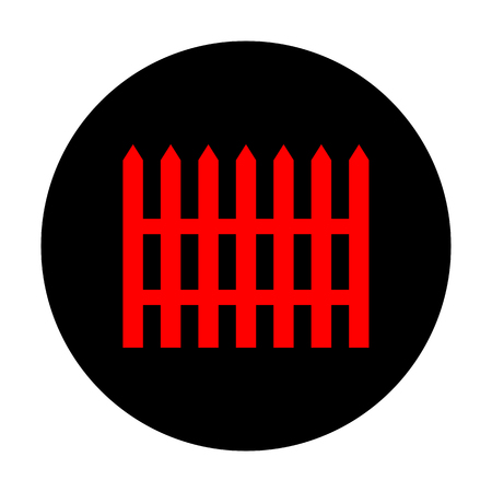 dissociation: Fence simple icon. Red vector icon on black flat circle.