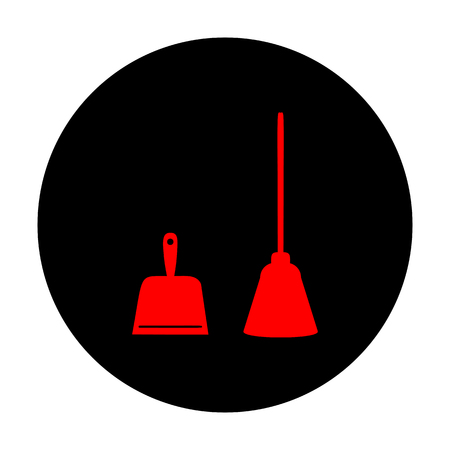 whisk broom: Dustpan vector icon. Scoop for cleaning garbage housework dustpan equipment. Red vector icon on black flat circle. Illustration