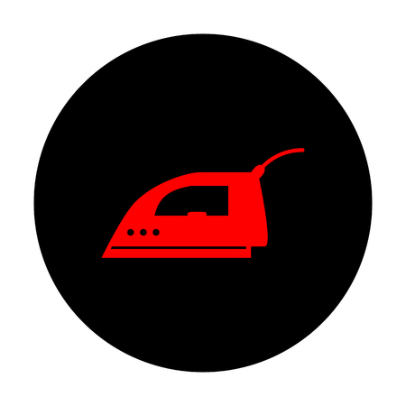 smoothing: Smoothing, Iron icon. Red vector icon on black flat circle.