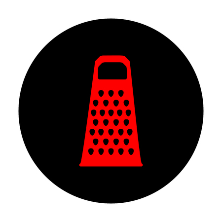 grater: Cheese grater icon. Red vector icon on black flat circle.