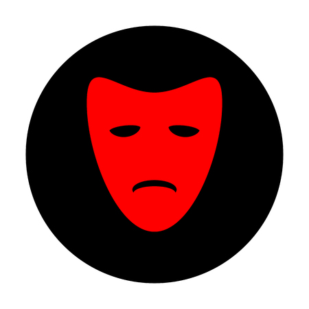 tragedy: Tragedy theatrical masks. Red vector icon on black flat circle.
