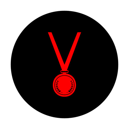 conquering: Medal simple Icon. Red vector icon on black flat circle. Illustration