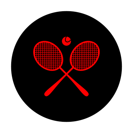 handled: Tennis racket icon. Red vector icon on black flat circle. Illustration