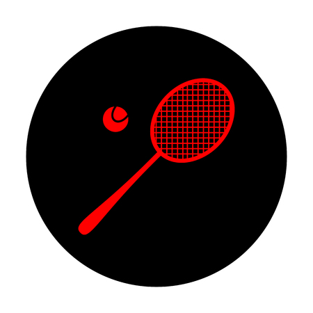 stretched: Tennis racquet icon. Red vector icon on black flat circle. Illustration