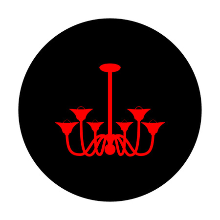 chandelier: Chandelier simple icon. Red vector icon on black flat circle. Illustration