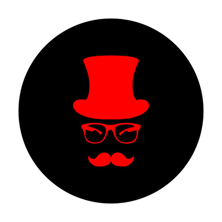 gent: Hipster style accessories design. Red vector icon on black flat circle.