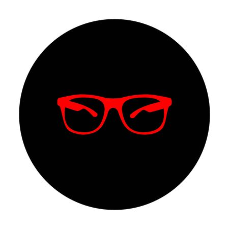 protective eyewear: Sunglasses sign. Red vector icon on black flat circle. Illustration