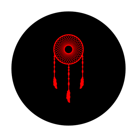 swelled: Dream catcher sign. Red vector icon on black flat circle. Illustration