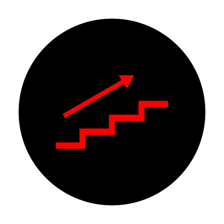 high way: Stair with arrow. Red vector icon on black flat circle.