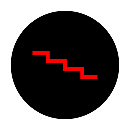 stair: Stair down sign. Red vector icon on black flat circle.