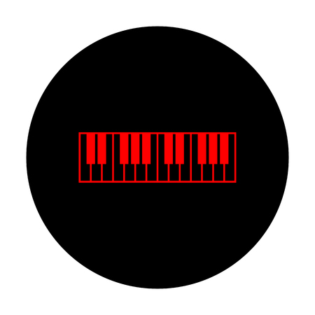 acoustically: Piano Keyboard sign. Red vector icon on black flat circle. Illustration