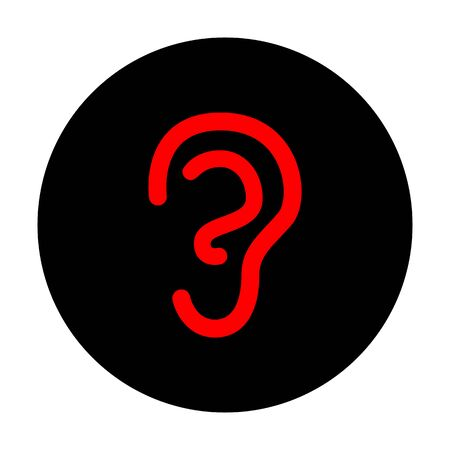 listener: Human ear sign. Red vector icon on black flat circle.