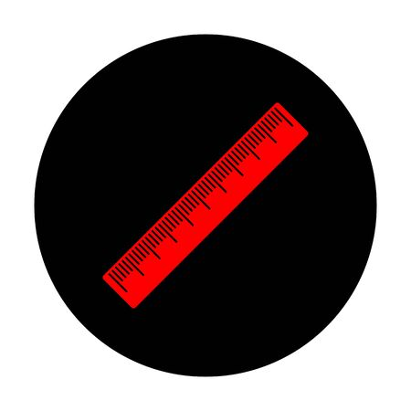 centimeter: Centimeter ruler sign. Red vector icon on black flat circle.