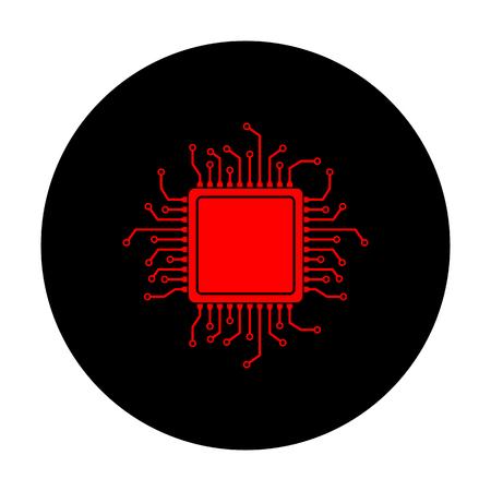 microprocessor: CPU Microprocessor. Red vector icon on black flat circle. Illustration