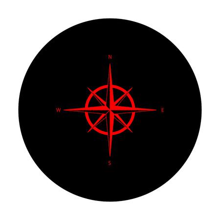 rosa de los vientos: El viento se levant� signo. icono de vector roja en c�rculo plano negro.