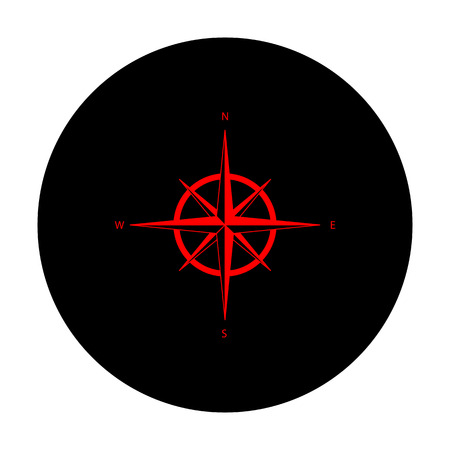 wind rose: Wind rose sign. Red vector icon on black flat circle.