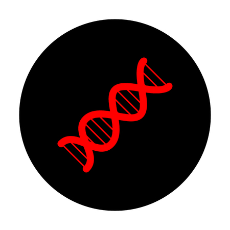 heredity: The DNA sign. Red vector icon on black flat circle.