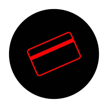 magnetic clip: Credit card symbol for download. Red vector icon on black flat circle.