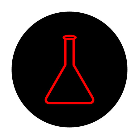 conical: Conical Flask sign. Red vector icon on black flat circle. Illustration