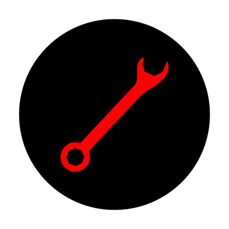 fitter: Crossed wrenches sign. Red vector icon on black flat circle.