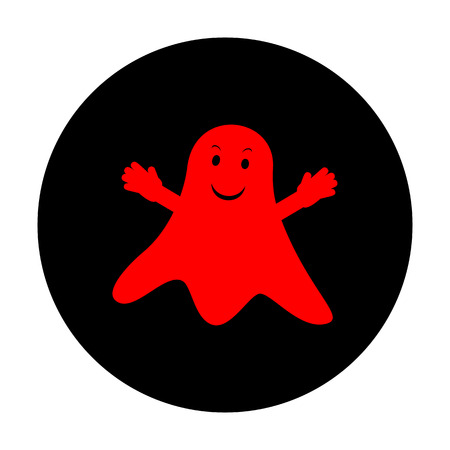 poltergeist: Ghost isolated sign. Red vector icon on black flat circle.