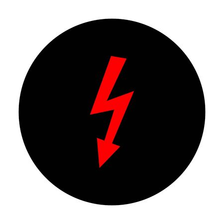 High voltage danger sign. Red vector icon on black flat circle.