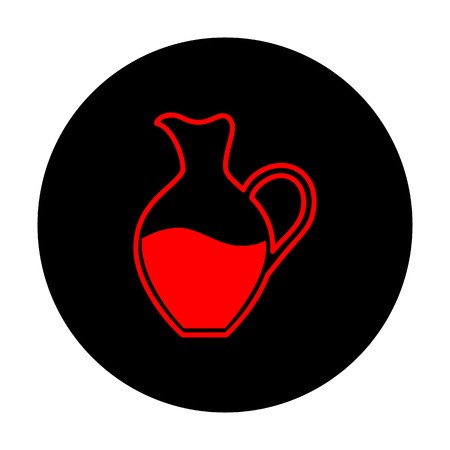 greek pot: Amphora sign. Red vector icon on black flat circle. Vettoriali