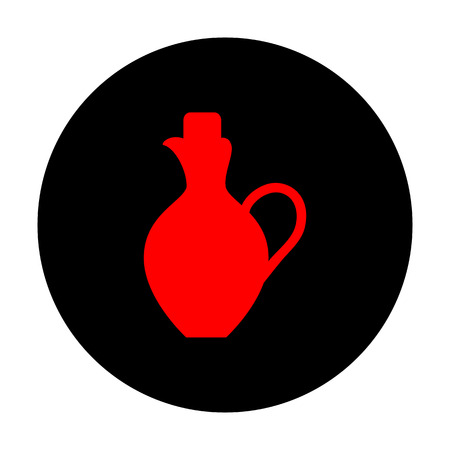 greek pottery: Amphora sign. Red vector icon on black flat circle. Illustration