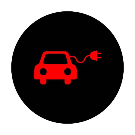 echnology: Eco electric car sign. Red vector icon on black flat circle. Illustration