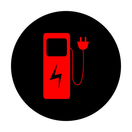 zero emission: Electric car charging station sign. Red vector icon on black flat circle.