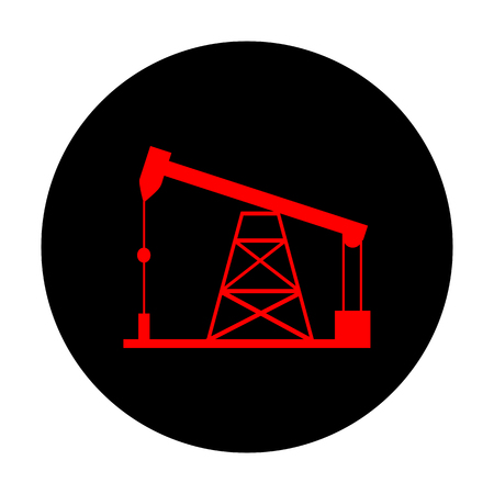 drilling rig: Oil drilling rig sign. Red vector icon on black flat circle.