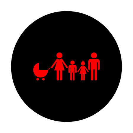 black family: Family sign. Red vector icon on black flat circle. Illustration