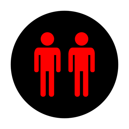 black family: Gay family sign. Red vector icon on black flat circle.