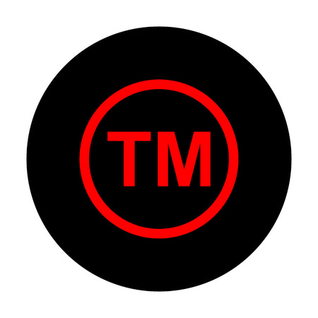 trade mark: Trade mark sign. Red vector icon on black flat circle.