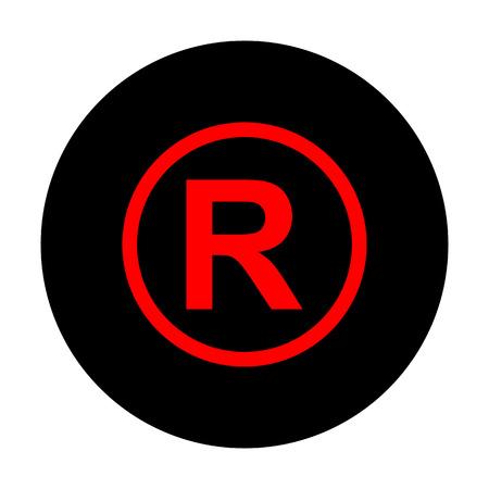 duplication: Registered Trademark sign. Red vector icon on black flat circle. Illustration