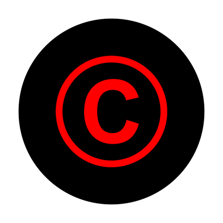 duplication: Copyright sign. Red vector icon on black flat circle. Illustration