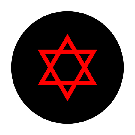 magen: Star. Shield Magen David. Symbol of Israel. Red vector icon on black flat circle.